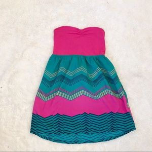 💗 Roxy strapless midi striped pink & green dress
